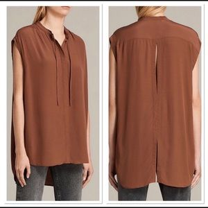 All Saints Maroon Sleeveless Button-down Top